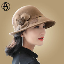 FS Elegant Wide Brim Flower 100% Wool Felt Hats Lady Formal Fedora Feather Red Black Round Hat Women Cloche Church Caps