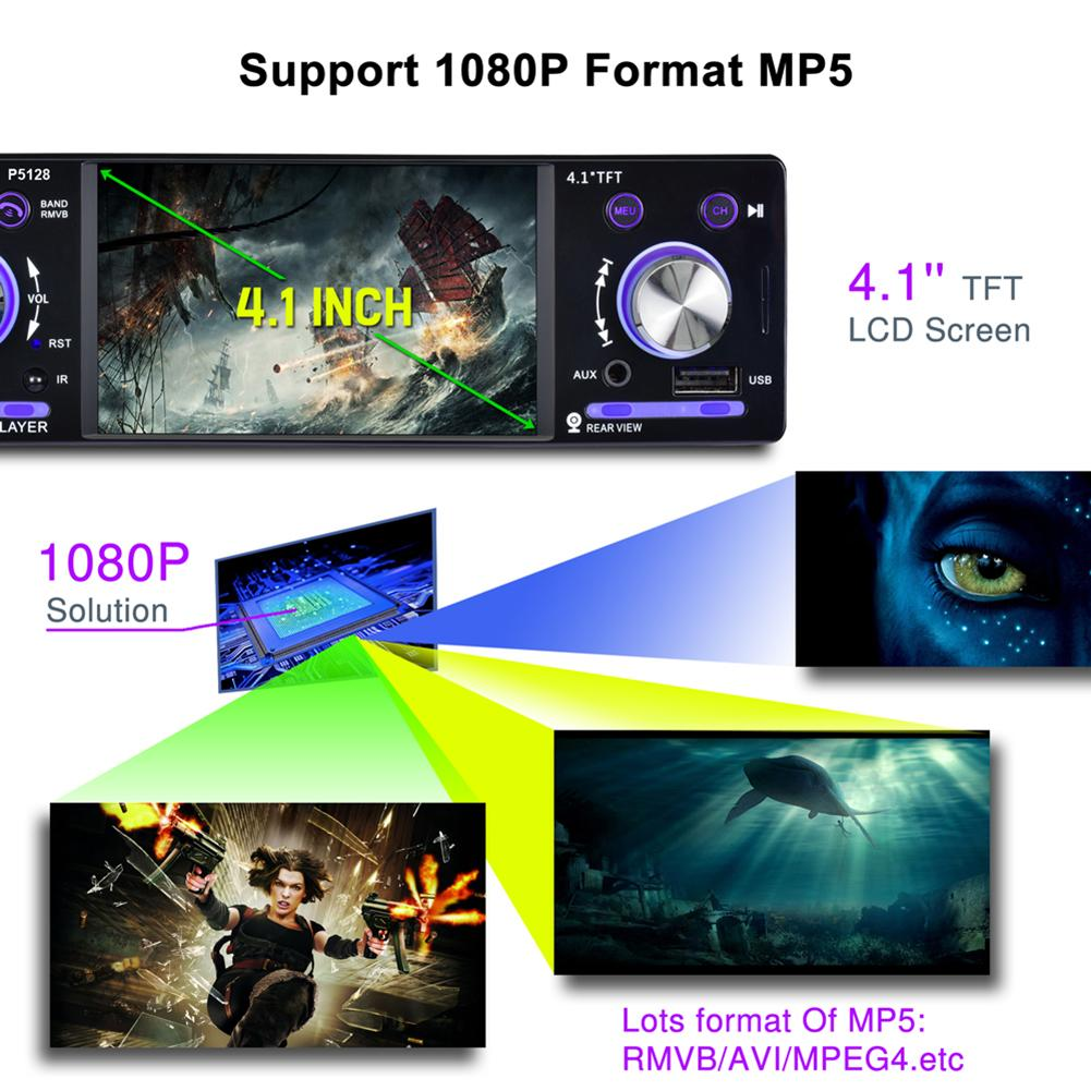 4.1 TFT LCD HD Digital 1080P Backlit Colorful Backup Camera ISO Port Priority Bluetooth MP5 Player P5128 mp5 car player4.1 TFT LCD HD Digital 1080P Backlit Colorful Backup Camera ISO Port Priority Bluetooth MP5 Player P5128 mp5 car player