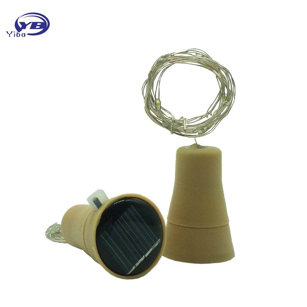1 Pc New Fashion Solar-powered Wine Bottle Cork-shaped String Starry Light 10 LED Night Fairy Light Lamp Xmas HQ