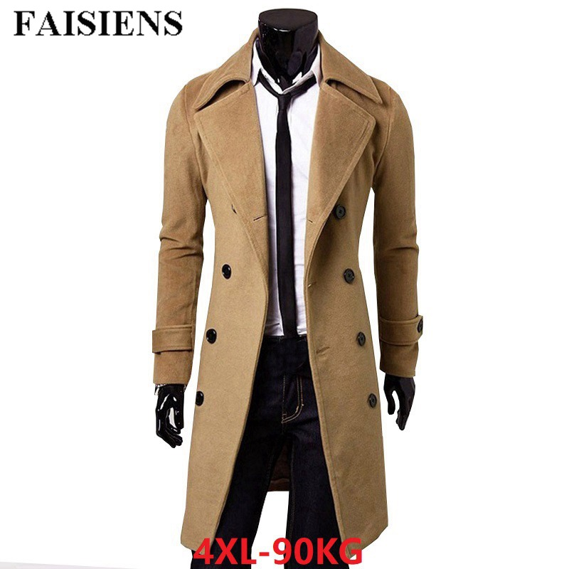 FAISIENS Men Autumn Winter Casual Blends Jackets Plus Size 4XL Cheap Business Thick Slim Fit Khaki Trench Overcoat Long Peacoat