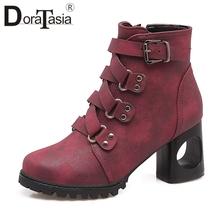 DORATASIA New Hot Sale Retro Ankle Boots Women 2019 Add Fur Autumn Large Size 34-43 High Heels Shoes Woman