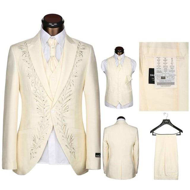 Latest Coat Pants Designs Tailored Rhinestones Man Suit white black Cream embroidery Wedding Suits For Men Groom Tuxedos 3 Piece