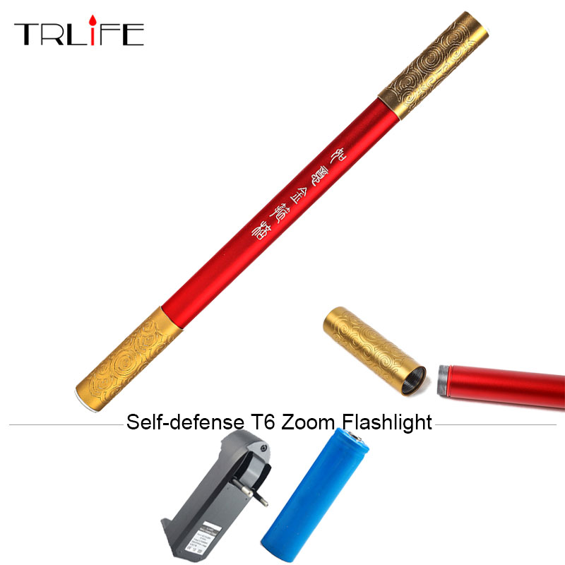 Outdoor Self-defense Zoomable 5000LM CREE XM-T6 LED Flashlight 3 Modes Gold Bars Mace Torch Lantern for 18650 battery zk35 cree xm l2 4500lm 5 mode flashlight torch led flashlight self defense lamp rechargeable with 18650 battery for outdoor