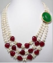 Jewelry real 3row white pearl natural red jade necklace Free shipping