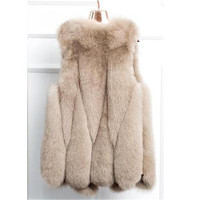 2018 autumn and winter new fashion hot fox fur faux fur vest jacket long section large size trend loose casual vest