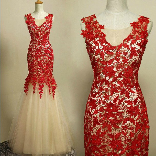 Real Photo Vestido De Renda Robe De Soiree 2018 New Fashion Sexy Red Lace Party Prom Gown Elegant Mother Of The Bride Dresses