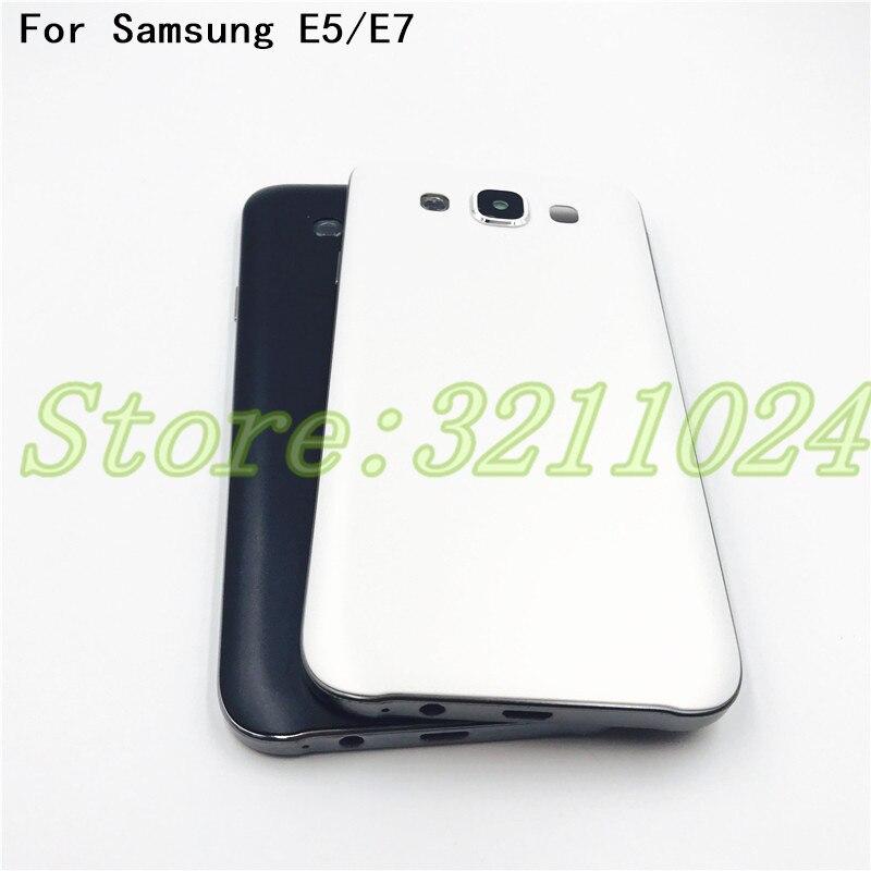 591bac32e84 Carcasa completa de buena calidad para Samsung Galaxy E5 E500 E7 E700  cubierta trasera de la batería puerta + llave lateral + lente de la cámara