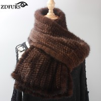 2016 Women Knitted Mink Fur Scarf Hand Knitted Fur Muffler Luxury Real Mink Fur Neck Warmer