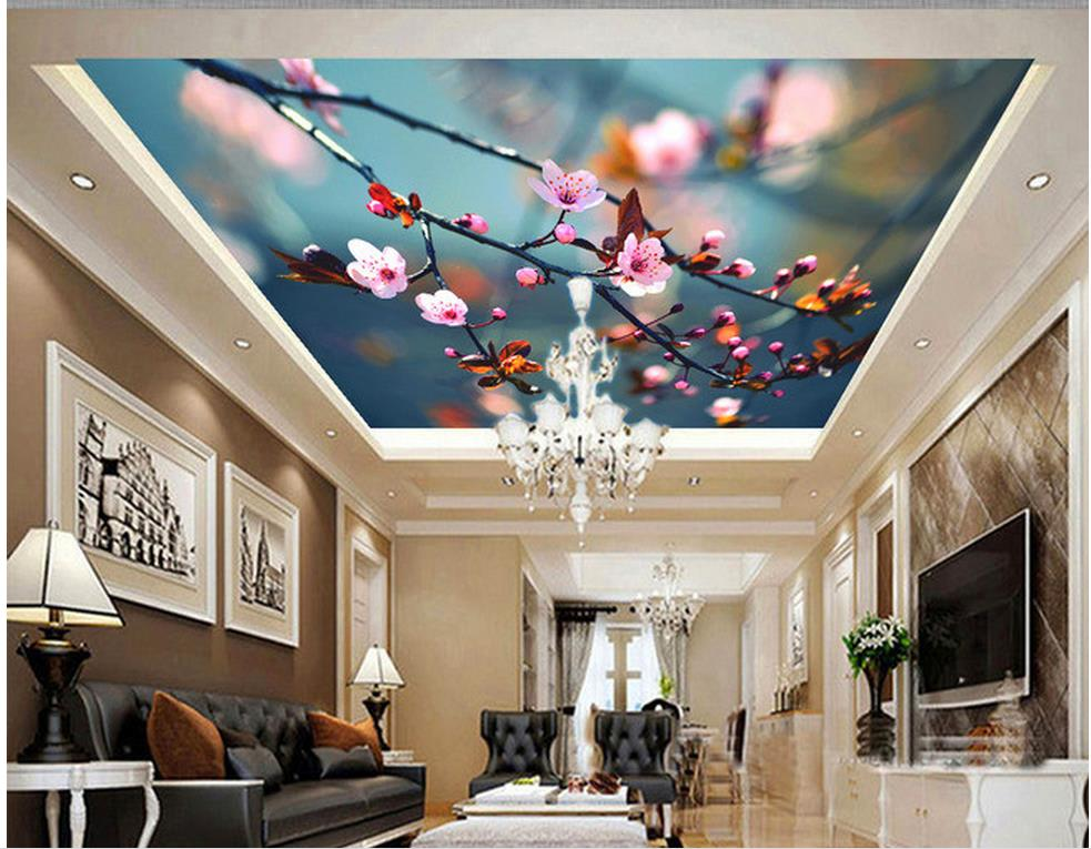 3d name wallpapers Flower peach blossom cherry ceiling zenith fresco room modern wallpaper Home Decoration in Wallpapers from Home Improvement