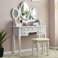 Giantex White Vanity Wood Makeup Dressing Table Stool Set Modern Dressers For Bedroom With 3 Folding