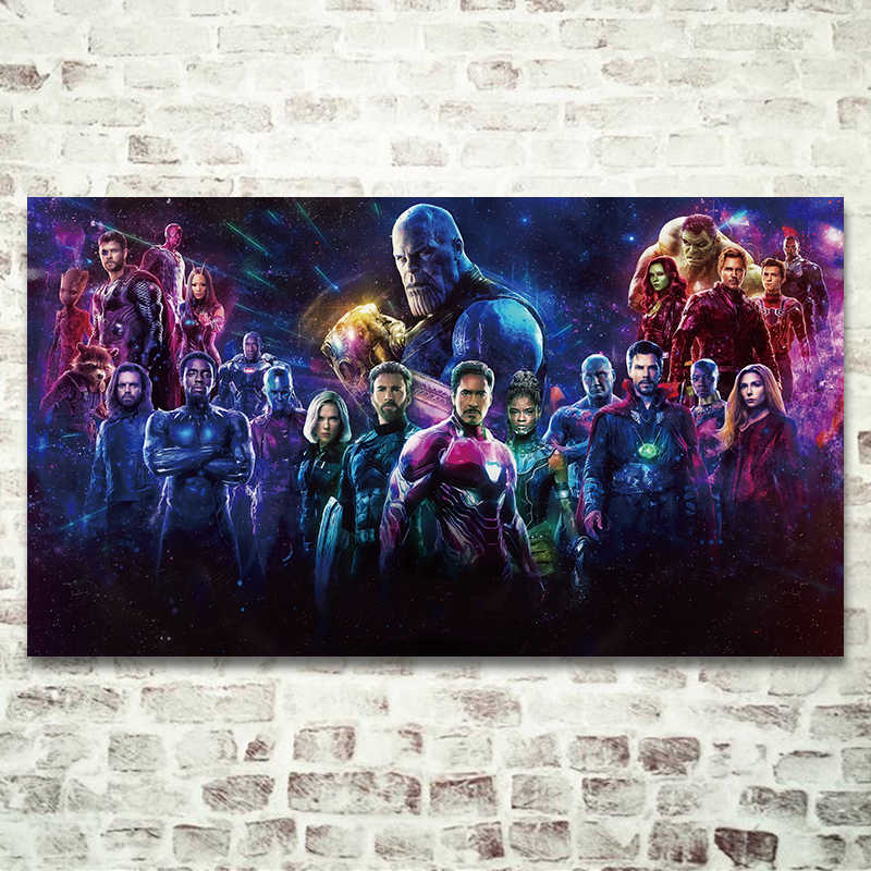 Modern Superheroes Movie Poster Prints, Avengers Wall Picture Color Avengers Thanos Silk Artwork Bedroom Wall Decorative Gift
