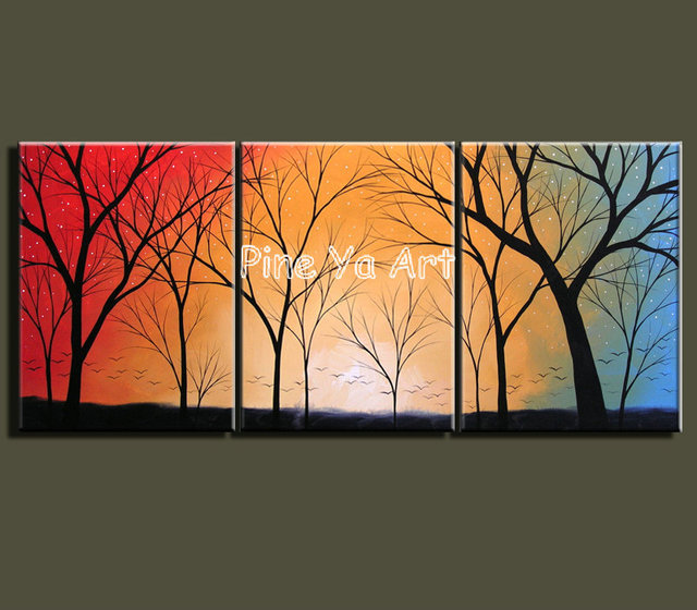 3 Muti Panel Piece Abstract Modern Canvas Wall Decorative Night Star Tree Oil Painting For