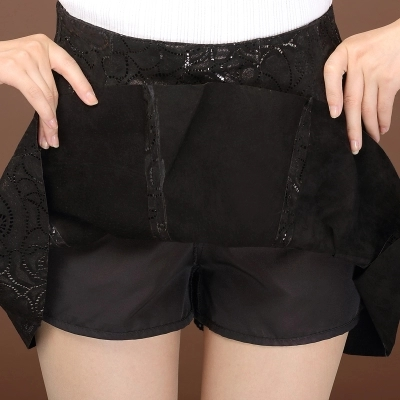 Женская плиссированная юбка из овчины с принтом - 4