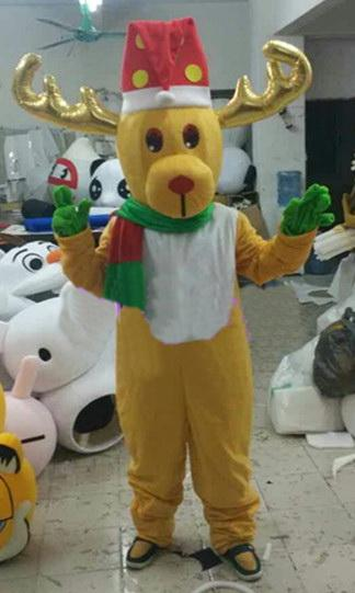 High quality EVA Material Helmet Christmas deer Mascot Costumes Birthday party walking Apparel Adult Size Free shipping