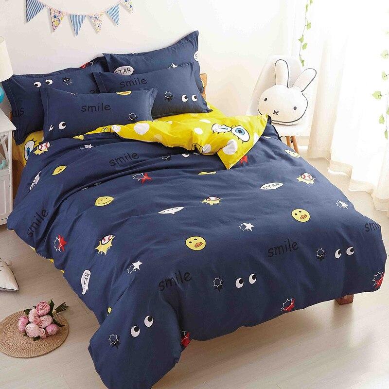 Home Textile Navy Blue Eye Printed 3/4pcs Bedding Set Bed Cover Bed Sheet Duvet Cover Pillowcase Bed Linen Bedclothes Queen