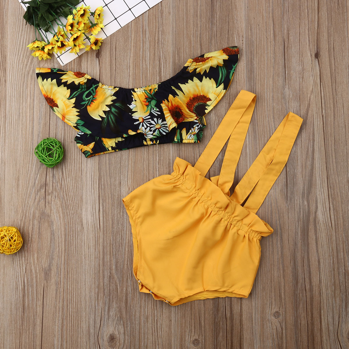 2PCS Newborn Baby Girl Sunflower Crop Tops Bib Pants Shorts Overalls Outfit Sets