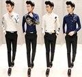 23 цветов бесплатная доставка сорочка homme 2015 корейских тонкой с длинным рукавом печатный camisa masculina цветочные свободного покроя рубашки мужчины