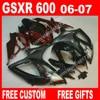 100 Brand New Fairings For SUZUKI 2006 2007 Dull Red Black Autocycle GSXR 600 750 K6