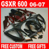 100 Brand New Fairings For SUZUKI 2006 2007 Dull Red Black Autocycle GSXR 600 750 K6