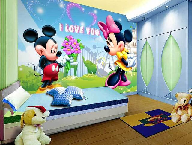 gran pared 3d papel de fotos mickey mouse animales de dibujos animados para ni os kids room. Black Bedroom Furniture Sets. Home Design Ideas