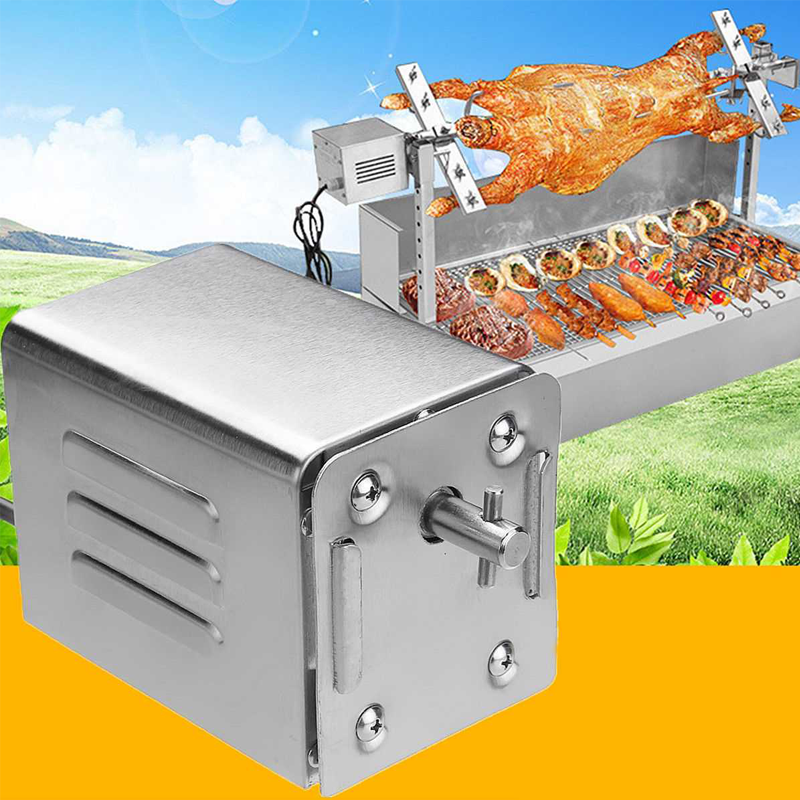 Stainless Steel Meludah Roaster Motor Berkemah Babi Domba Kambing Ayam Arang BBQ Grill Di Luar Ruangan Roaster Meludah Roaster Listrik Motor