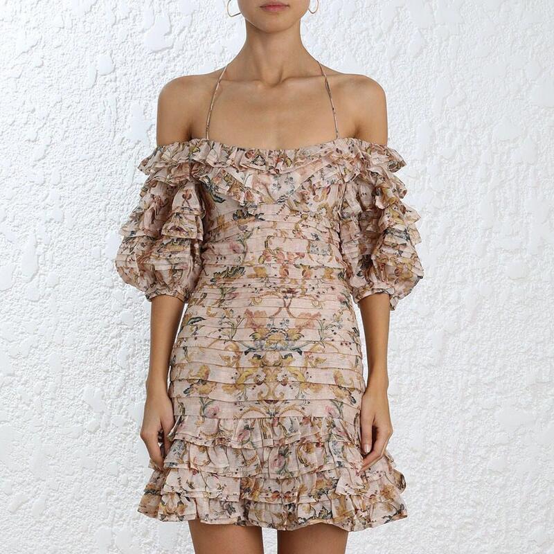 8979722a763e8 Women Painted Heart Folds Dresses Off Shoulder Slik Linen Floral Print  Bohemian Summer Mini Bodycon Dress