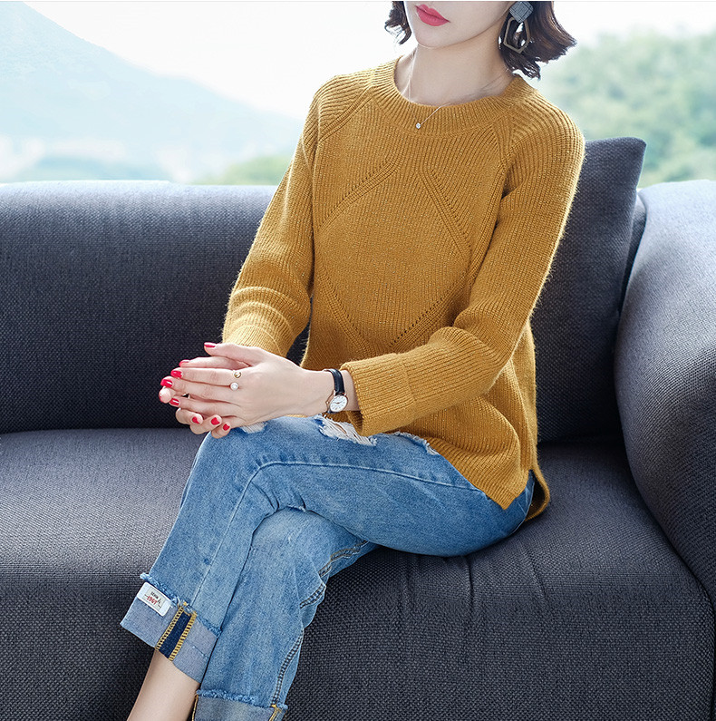 women sweater o-neck collar sweater female 2018 autumn winter long sleeved slim knitted pullovers solid