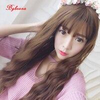 Bybrana Long Curly Wig Black Brown 7 Colors Air Bangs New High Quality High Temperature Fiber