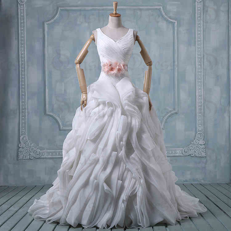 Wedding Gown Wholesalers: New Wholesale Real Photo V Neck Ball Gown Sashes Organza