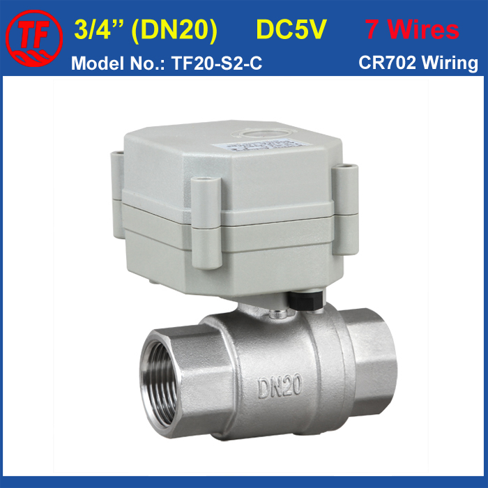 TF High Quality Electric Ball Valve TF20-S2-C NPT/BSP 3/4 (DN20) Full Bore Stainless Steel Electric Shut Off Valve DC5V 7 Wires tf20 s2 c high quality electric shut off valve dc12v 2 wire 3 4 full bore stainless steel 304 electric water valve metal gear