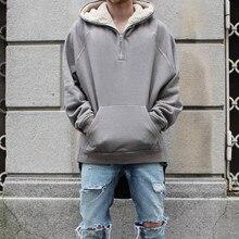 2016 neueste TOP Kanye West SAISON übergroßen pullover hoodie hip hop ANGST GOTTES HBA MÄNNER Erweiterte Mittleren Zip Sweatshirt