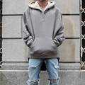 2017 Latest TOP Kanye West  SEASON oversized pullover hoodie hip hop FEAR OF GOD HBA MEN Extended Middle Zip Sweatshirt