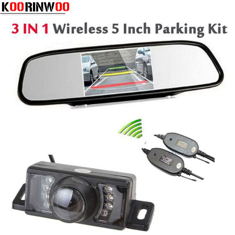 Wireless Adapter 5'' LCD TFT Mirror Monitor + 7 infrared Night Vision Rear View Camera Waterproof Backup Reverse camera Parking 7 car wireless foldable tft lcd monitor with rear view infrared night vision backup camera reverse parking cam for truck bus