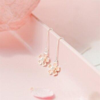Perla coreana flor de cerezo fresca Flor de alambre 925 Plata de Ley temperamento personalidad moda pendiente femenino SEA043