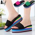 Mulheres sandálias 2016 novo verão moda leopardo do arco-íris de sandálias sapatos de cunha sandálias de praia ALF134