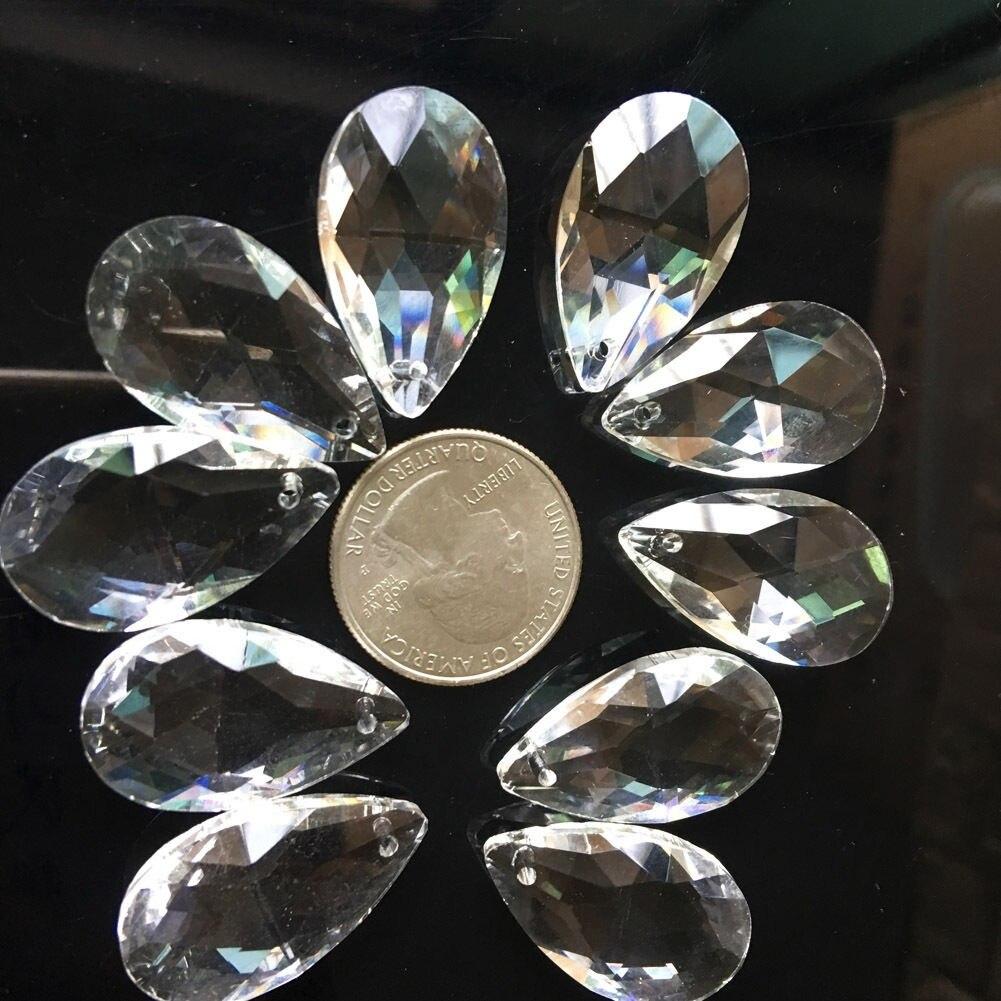 10 шт слеза капля 28 мм прозрачная стеклянная кристаллическая Призма DIY кулон украшения для люстры Suncatcher разделитель граненый