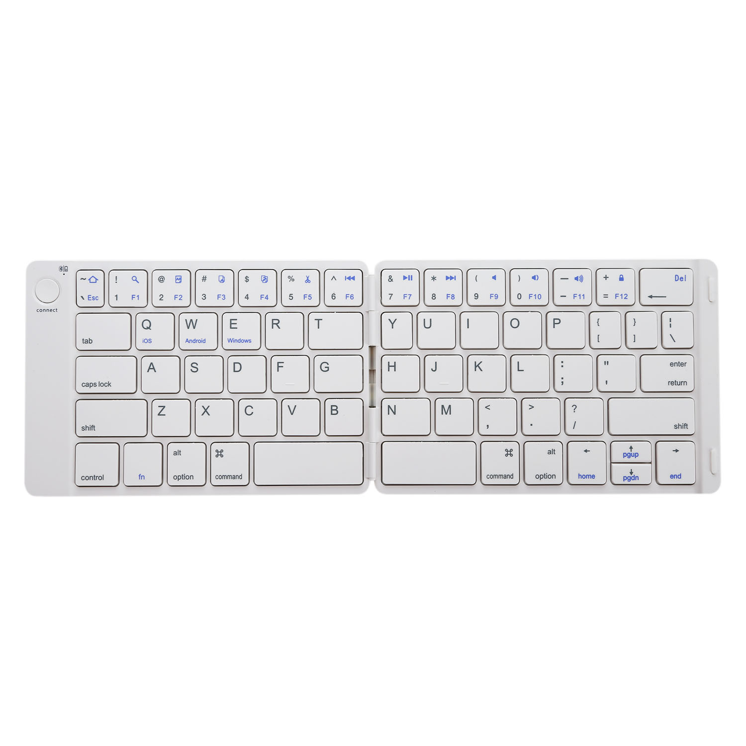 white Foldable Bluetooth Keyboard Ultrathin Rechargeable Folding Bluetooth Wireless Keyboard