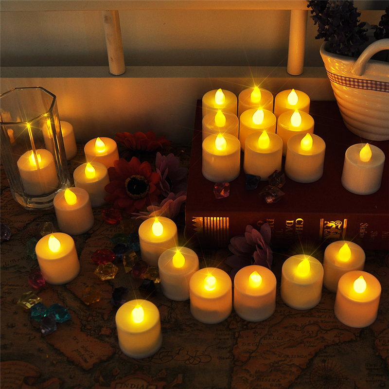 24pcs/set Electronic Flameless Candle Remote control Flickering LED Candles Christmas Wedding Tealight Church Decorative Candles