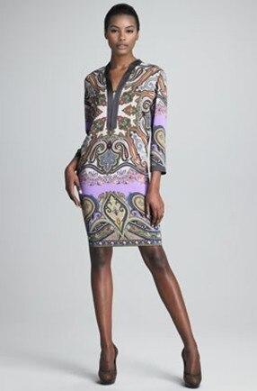 여름 드레스 탑 fasion 프로모션 vestido 2017 시리즈 v 넥 프린트 슬림 3 쿼터 슬리브 탄성 니트 원피스 드레스-에서드레스부터 여성 의류 의  그룹 1