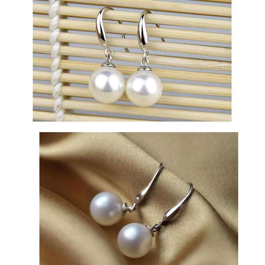 Fashion Costume 12mm Pearl Jewelry Sets Wedding Jewellery Classic Imitation Pearl Silver Plated Clear Crystal Elegant Party Gift