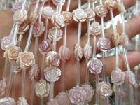 Alta qualidade MOP shell jóias naturais rosa Branca Flor Rosa contas Mãe Branca do Pearl Esculpido Rose Flor Beads 2 vertentes 30 pc