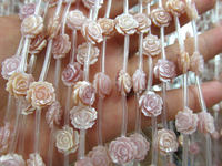 high quality natural pink shell jewelry White MOP Rose Flower Beads White Mother of Pearl Carved Rose Flower Beads 2strands 30pc