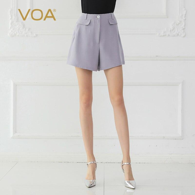 VOA Silk Shorts Purple Women Basic Office Summer Casual K668