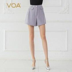 VOA Zijde Shorts Paars Vrouwen Basic Office Zomer Casual K668