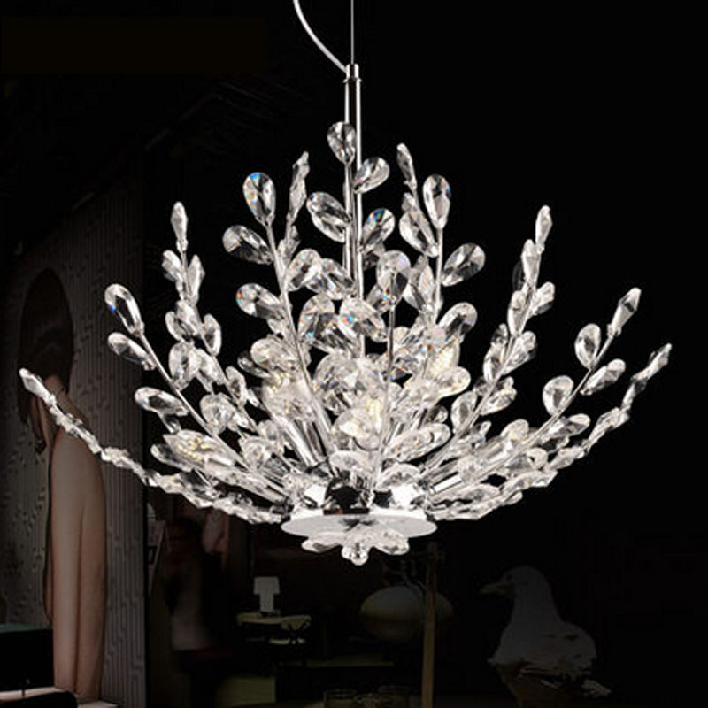 ZX Modern Crystal LED Chandelier European Luxury Living Room Pendant Lamp Creative Crystal Tree Dining Room E14 Indoor Lights european crystal chandelier lights pendant lamp for dining room bedroom cloakroom stairs