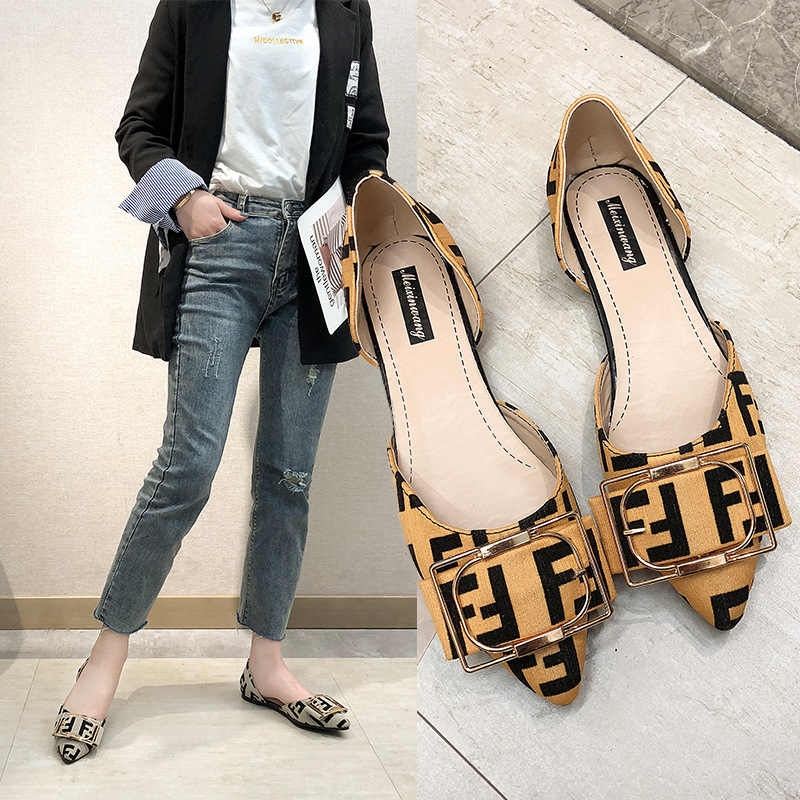 New Korean version of rhinestone belt buckle hollow pointed flat shoes leopard print suede soft bottom women's shoes spring