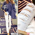 2015 Fashion Women Big Hole Cotton Black Jeans Female Personality Beggar Pant Distrressed White Elastic Skinny Slim Pants