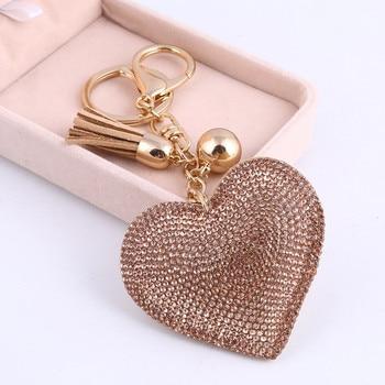 3D Bling Bling Rhinestone Heart Shape Keychain Leather Tassel Gold Key Holder