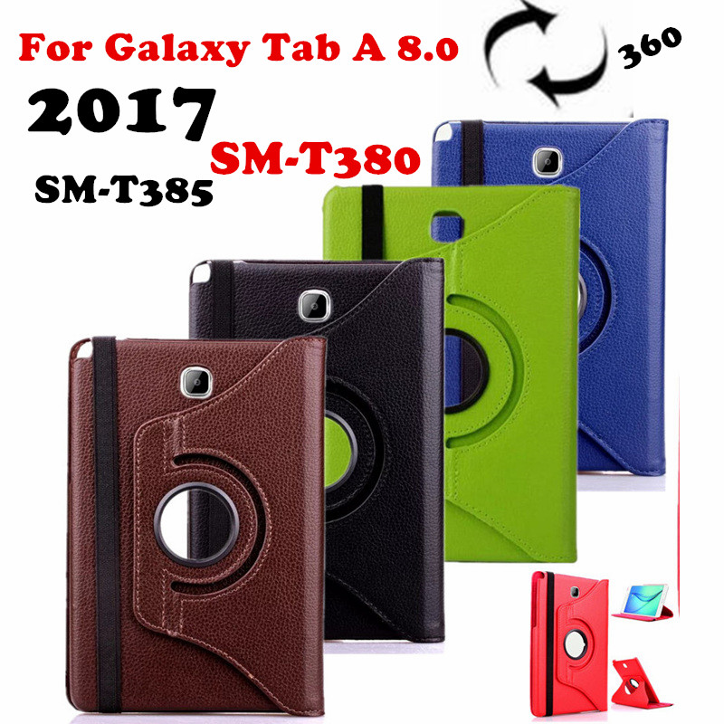 Tab A 8.0 2017 360 rotating Folio PU Leather Case Flip Cover For Samsung Galaxy Tab A 8.0 2017 A2S T380 T385 SM-T385 Tablet Case bluetooth wireless keyboard case for samsung galaxy tab a 8 0 t380 t385 pu leather stand cover detachable keypad protective case
