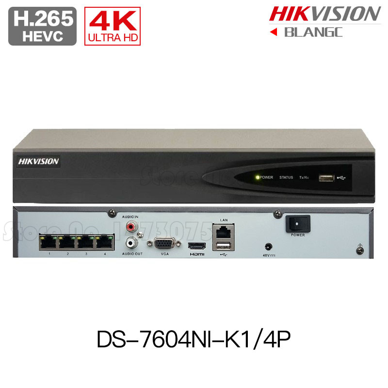 Hikvision DS-7604NI-K1/4P DS-7608NI-K2/8P DS-7616NI-K2/16P 8MP H.265 4K POE NVR 4CH 8CH 16CH Embedded Plug & Play 4K NVR English in stock free shipping english version ds 7608ni k2 8p 8ch 4k nvr 2sata with 8poe ports embedded plug